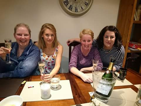 Always time for wine on Catherine's visits to the mother land!