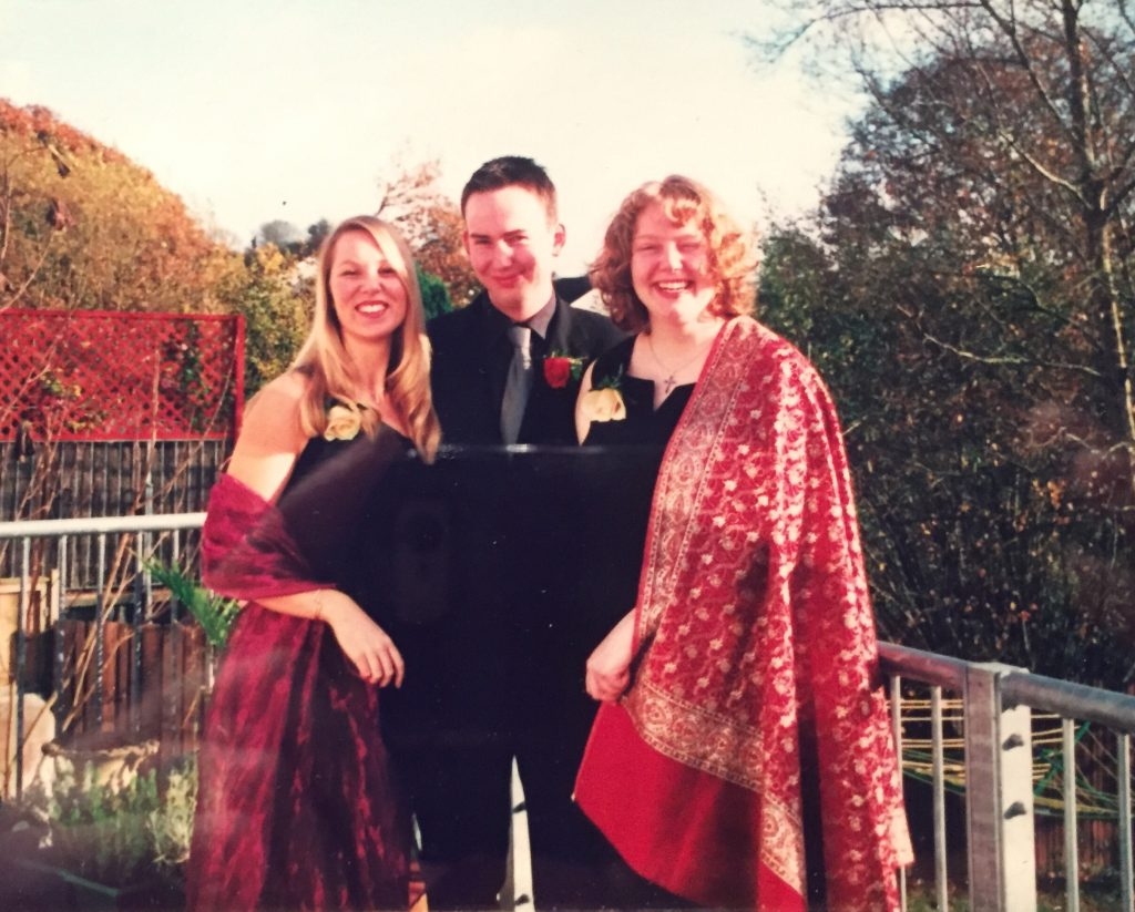 Catherine and Darren and I getting ready for my sister's wedding in Devon. Fabulous pashmina darling!!